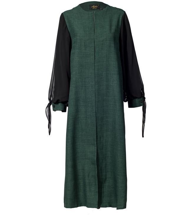 image مانتو زنانه بلند سبز یشمی مشکی آیلار