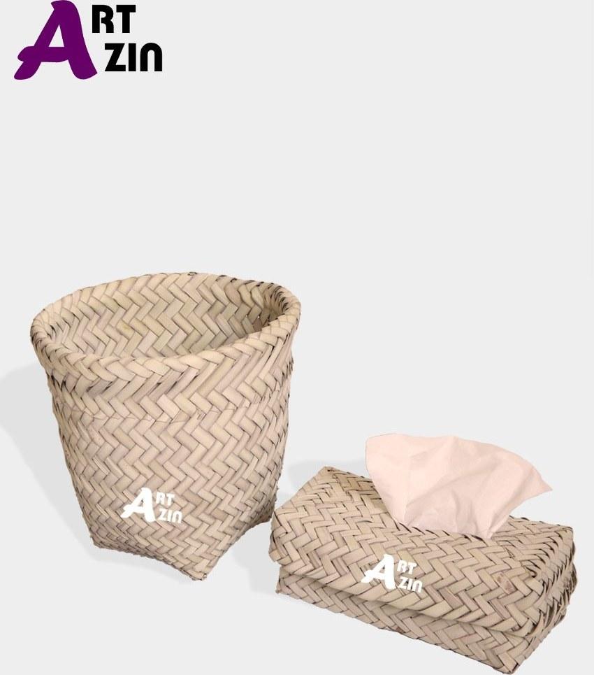 تصویر جا دستمال کاغذی و سطل ست حصیری داز -  کد: 759