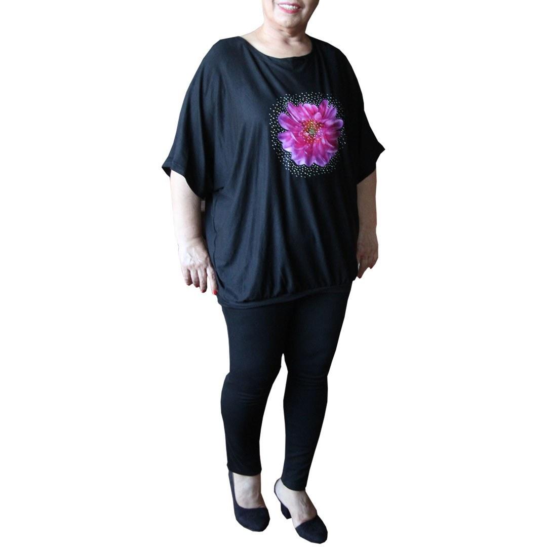 تصویر تیشرت زنانه سایز بزرگ نازلار کد9682 دارای رنگبندی