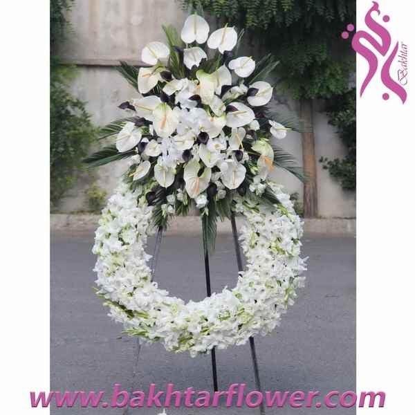 تصویر پایه گل ترحیم-تاج گل با آنتوریوم و گلایول و شیپوری هلندی