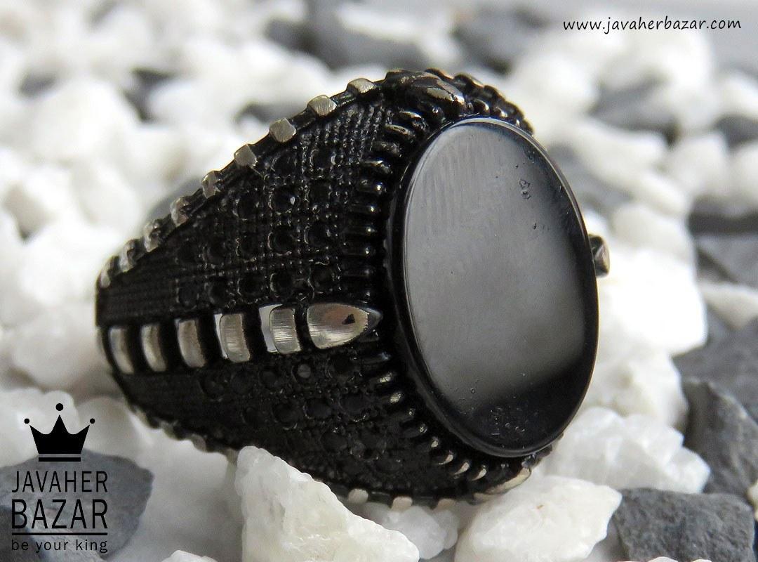 انگشتر نقره عقیق خوش نقش مردانه - کد 45843